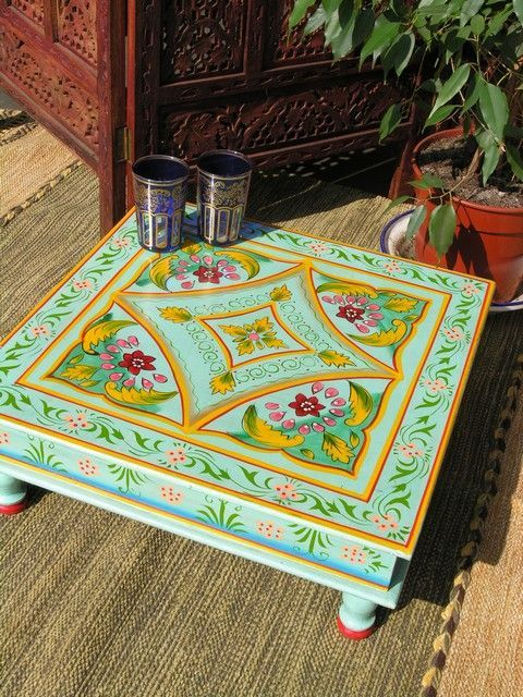 Marvelous Painted Table Idea. You Can Find Pretty, Low Carved Indian Tables And  Stools At