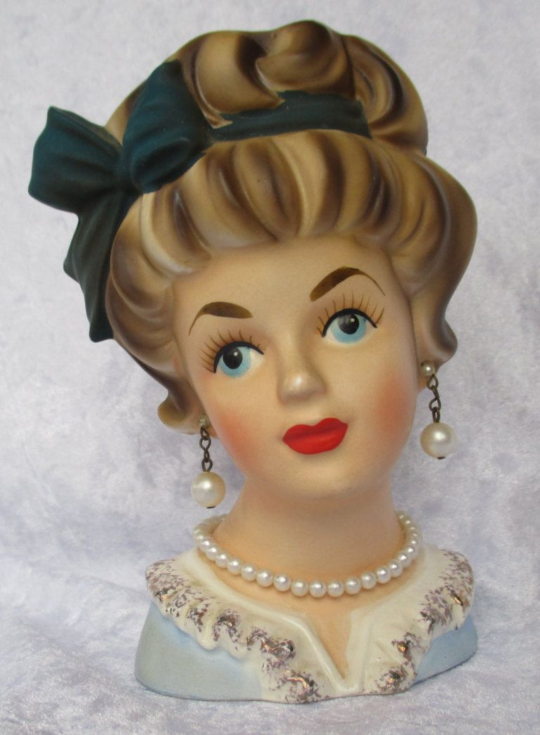 1950s glamorous brinns lady head vase planter marked t 1576 1950s glamorous brinns lady head vase planter marked t 1576 original with pearl earrings and reviewsmspy