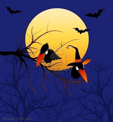 Whimsical Cartoon Crows Or Ravens Wearing A Witch Hat Under The Crow Crows Ravens Stock Illustration