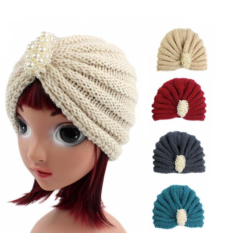 bfc6cdd42d9 Click to Buy    NEW Winter kids handmade beanie Head Cover Up hat Knit  Turban with pearl jewelry  Affiliate