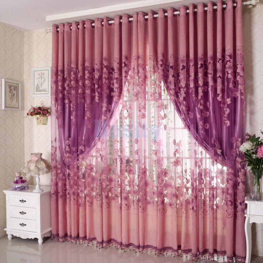 Morning glory voile cortina jacquard window curtain hanging decor