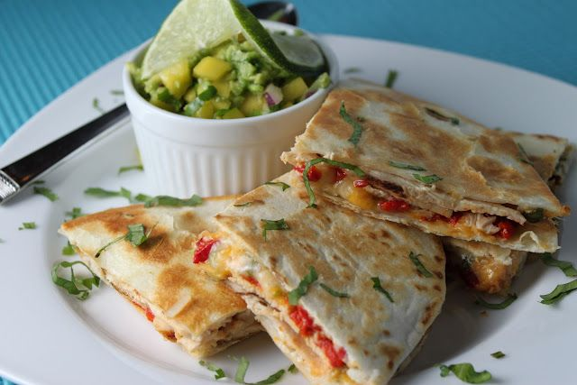 """Grilled Chicken Quesadillas (aka """"something out of nothing"""".....) and a Fabulous Avocado-Mango Salsa"""