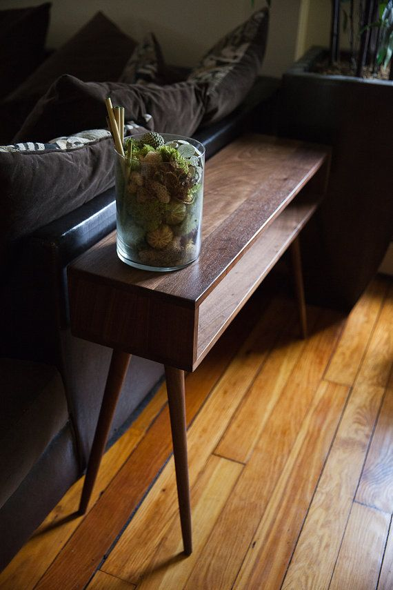 Mid Century Inspired Console Table Solid Wood Side Table