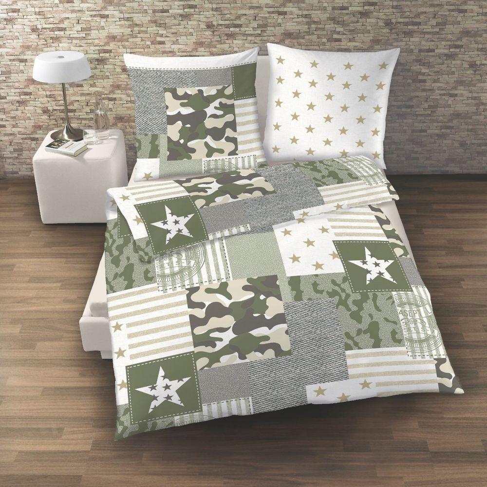 Camouflage Camo Bettwäsche Sterne Stars Oliv Khaki Grün 2 Tlg
