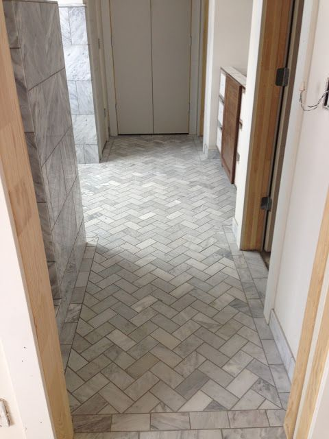 12x24 Marble Tile Walls With 3x6 Herringbone Tile Floor