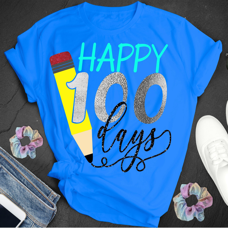 Happy 100 Days Svg 100 Days Svg Teacher Svg Pencil