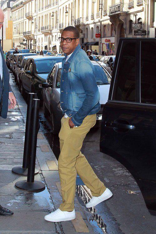 Jay-Z was seen outside his hotel in Paris, France wearing a YSL ...