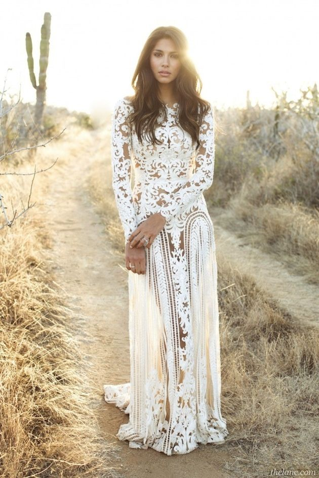 Contemporary Lace Hippie Wedding Dress Wander Bride