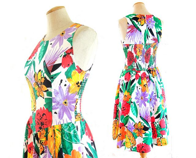 fb01bd30928 Vintage 1980s smocked princess basque dress in tropical floral print. Very  Summery  1980s