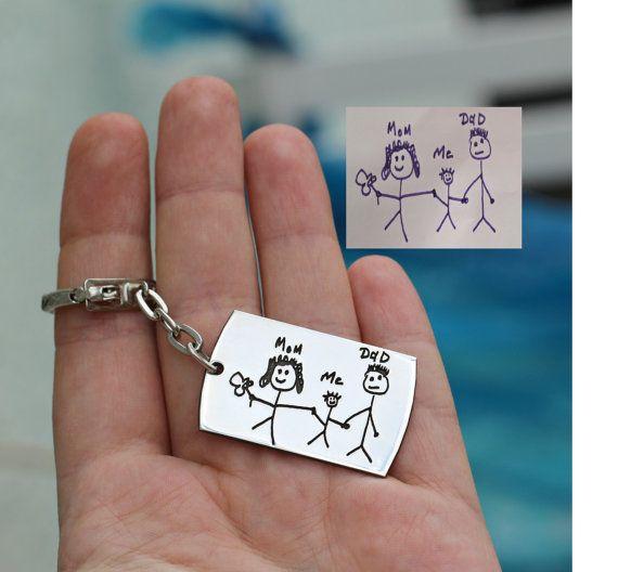 Väter Day Geschenk Schlüsselanhänger Zeichnung Kind Geschenk Für
