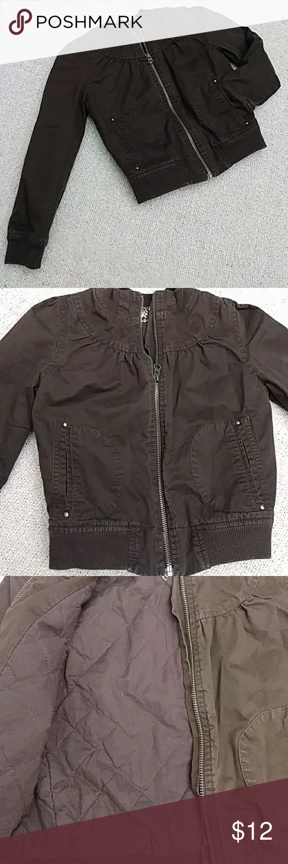 Girls Brown Quilted Bomber Jacket Great Condition Old Navy Warm Brown Quilted Bomber Jacket 100 Cotton S Quilted Bomber Jacket Quilted Bomber Clothes Design