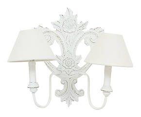 Applique da parete a 2 luci in legno con rilievi eve bianca