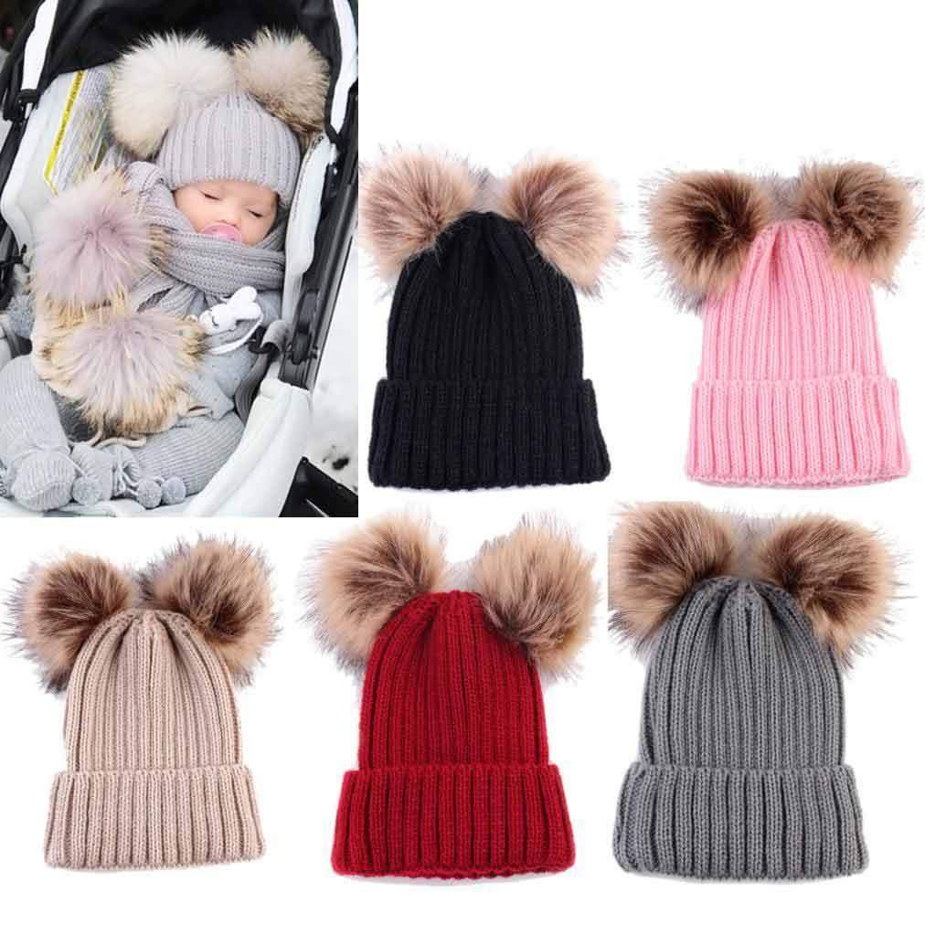 Toddler Kids Baby Girls Winter Warm Crochet Knit Hat Bow Fur Pom Pom Beanie Cap