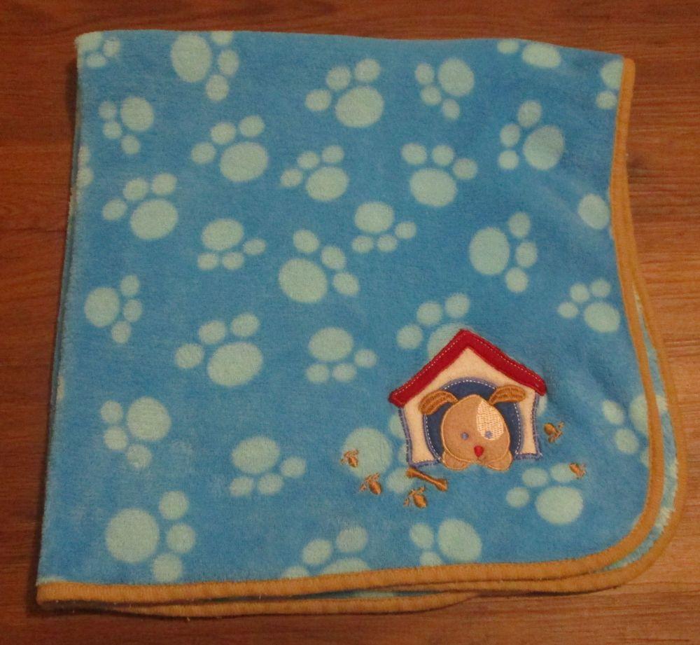 Regent baby dog house bones paw prints aqua fleece blanket x