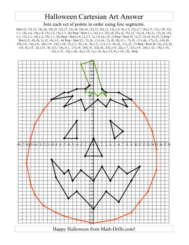 Halloween Math Worksheet -- Cartesian Art Halloween Pumpkin | Math ...