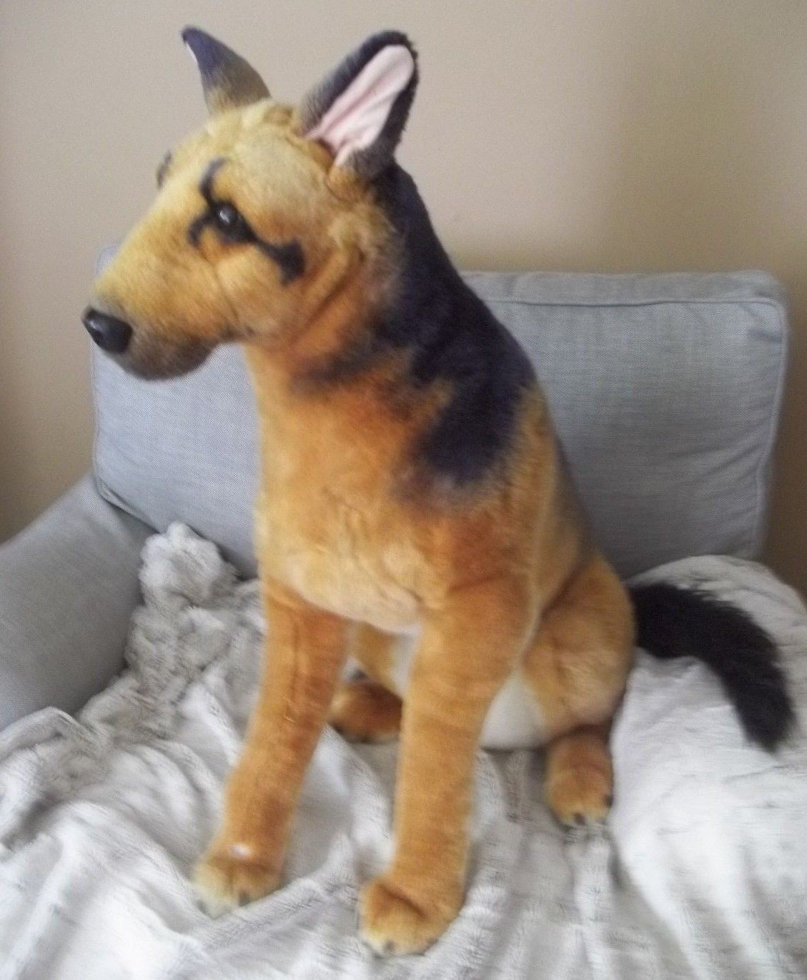 3 German Shepherd Life Size Realistic Plush Stuffed Animal Toy