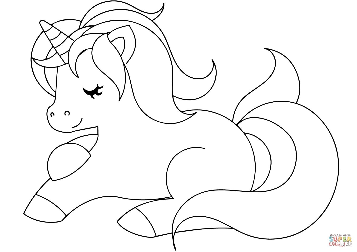 Cute Unicorn Coloring Page