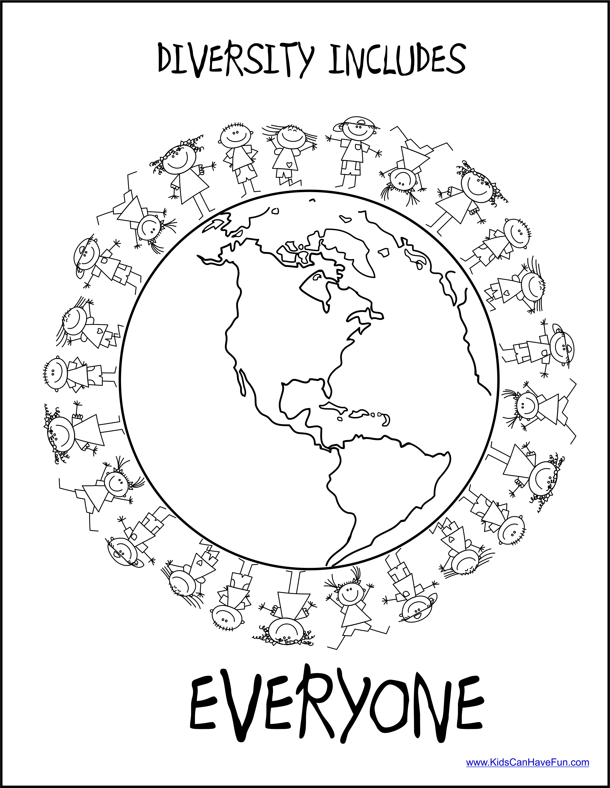Diversity Includes Everyone Coloring Poster In