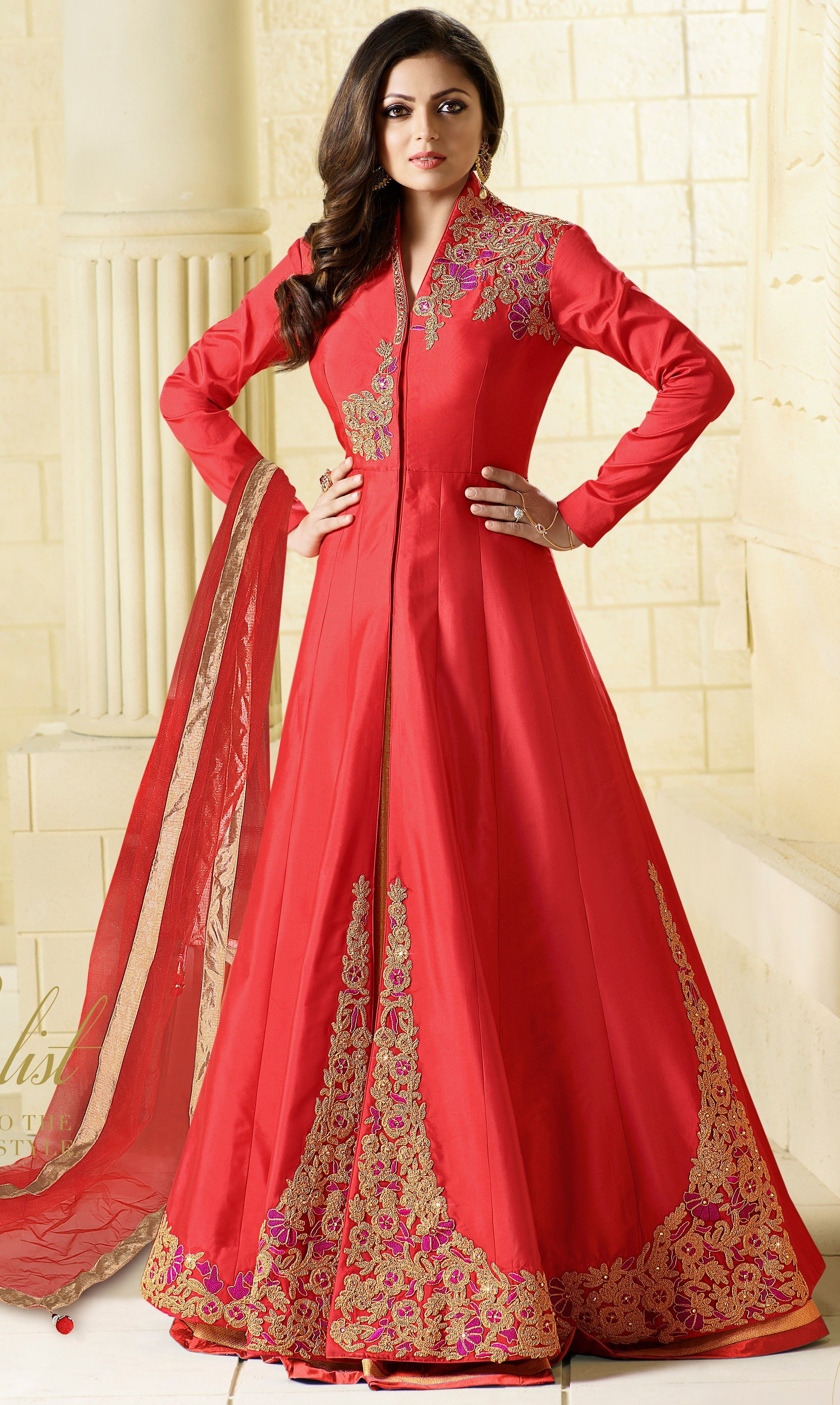 Red heavy bridal anarkali frock 7 suitanarkali in - Drashti Dhami Red Silk Floor Length Anarkali Suit With Zari And Stone Work With Back Work