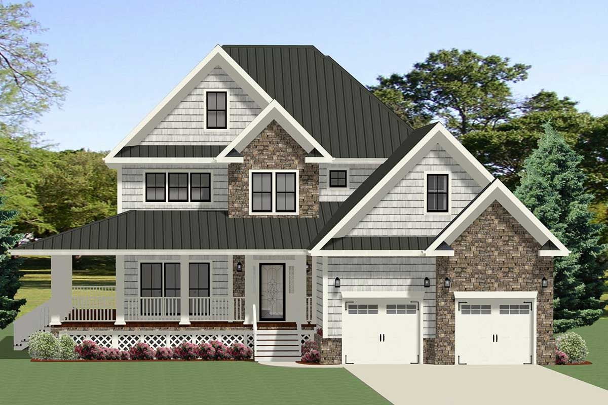 Plan 46340la Gorgeous 4 Bedroom Stone And Shake Farmhouse Home Plan With Wrap Around Porch In 2020 Craftsman House Plans House Plans Farmhouse Garage House Plans