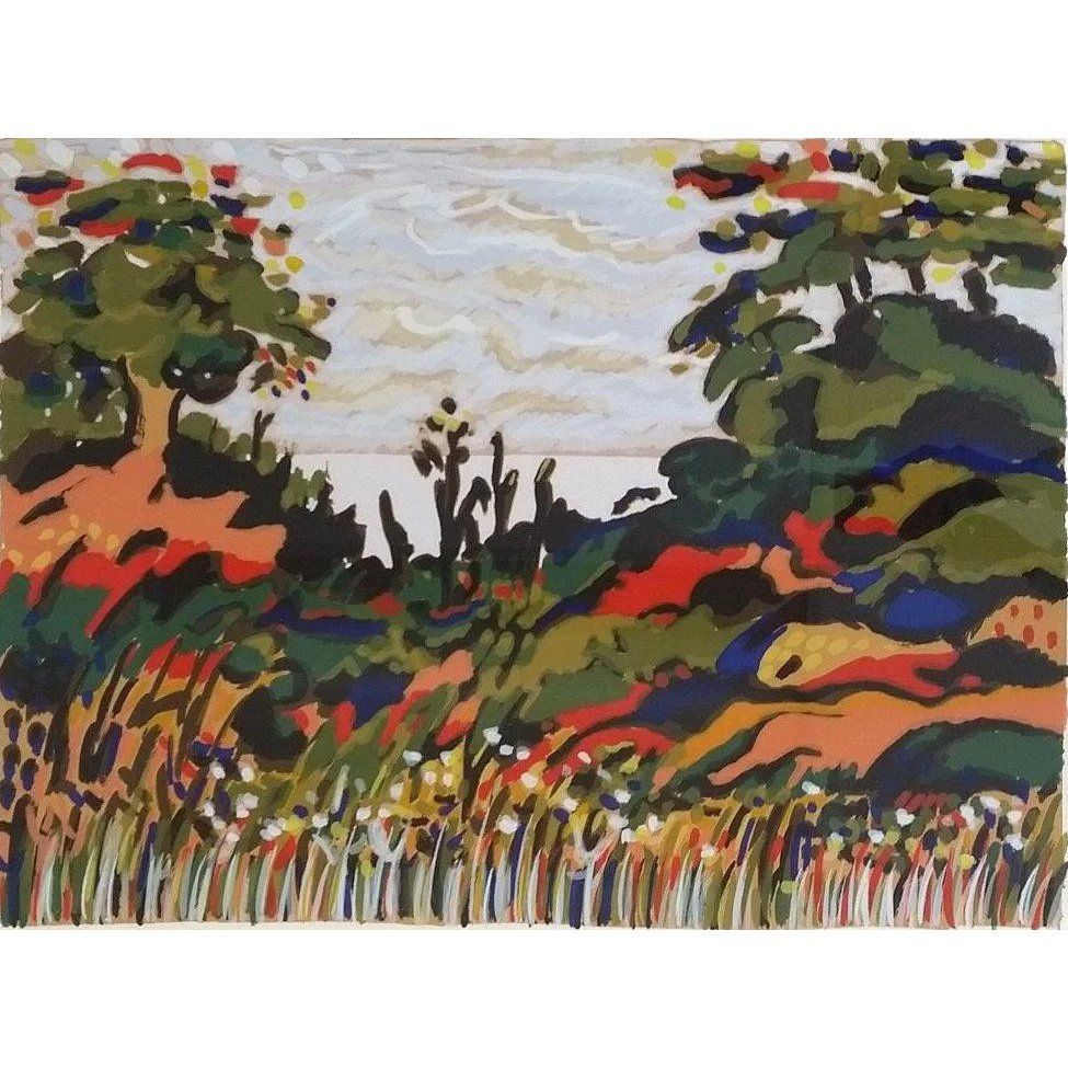 Untitled Landscape Serigraph By Yehouda Chaki Greek B