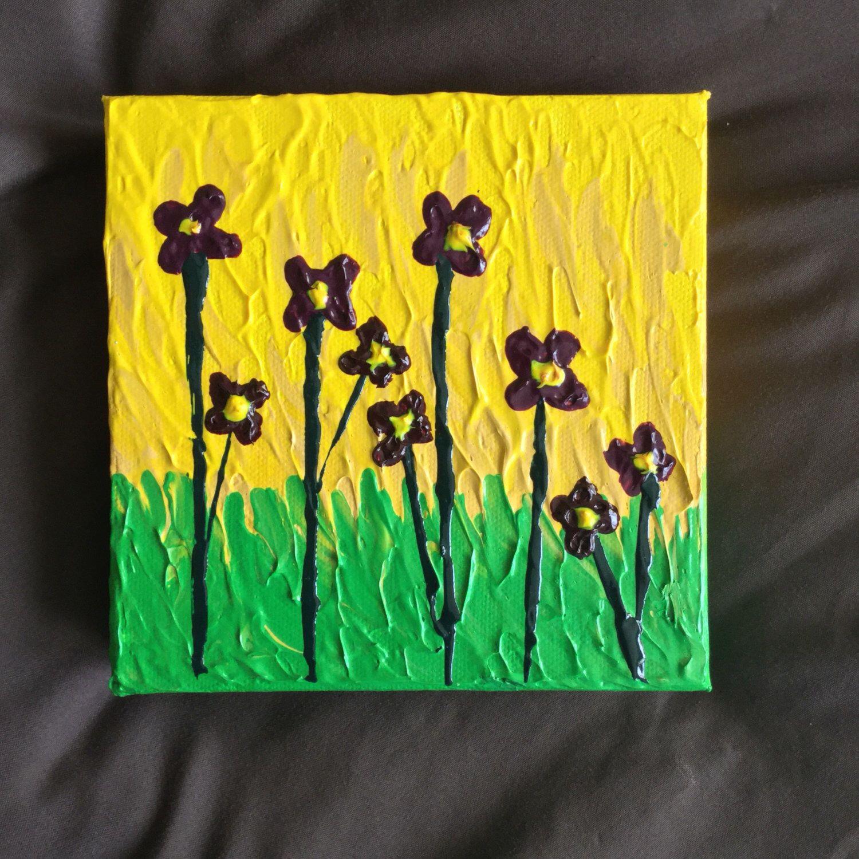 Purple Flower Painting Textured on Canvas - Palette Knife