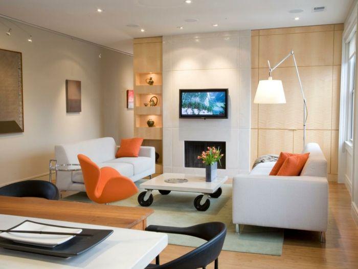 Kleines Wohnzimmer Einrichten Einbauschränke Wandregal Couchtisch