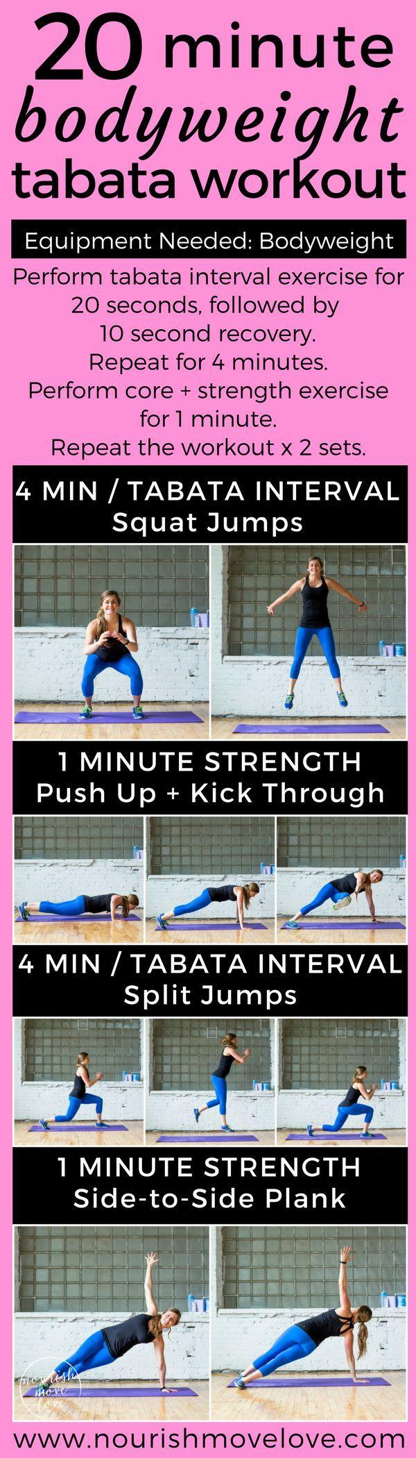 20-Minute Bodyweight Tabata Workout | bodyweight workout | tabata workouts | 20 minute workout | at...