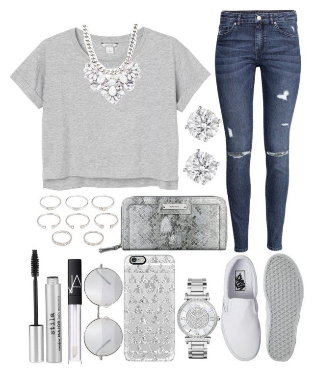 """""""......"""" by bloom17 ❤ liked on Polyvore featuring Monki, Forever 21, Vans, H&M, Nine West, Michael Kors, Casetify, NARS Cosmetics and Stila"""