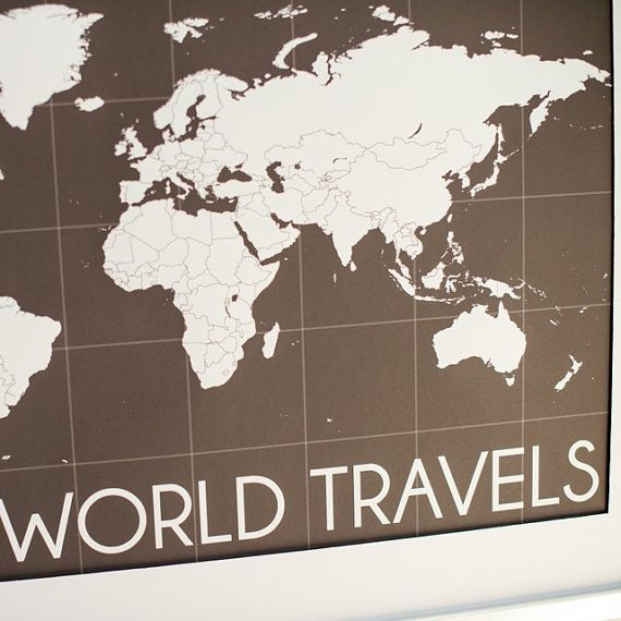 world map art interactive map mark the places youve traveled to personalized gallery wrapped canvas or print h i04 1ps
