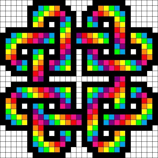Rainbow Hearts Perler Bead Pattern Graph Paper Art Pixel