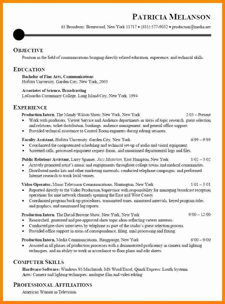 Awesome 8 Cv Samples for Internship in 2020 Resume
