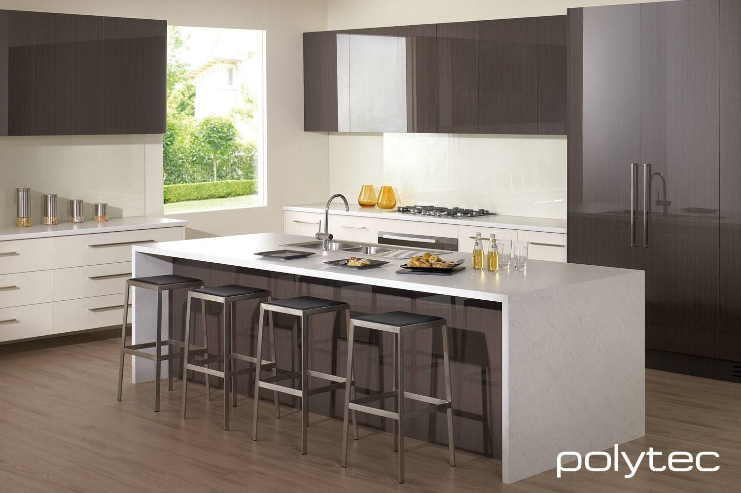 Createc doors and panels in truffle lini gloss melamine for Kitchen benchtop ideas