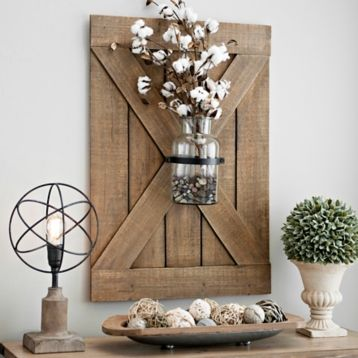Barn Door Wall Plaque With Glass Vase Shutter Wall Decor