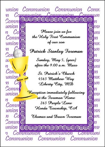 Religious Communion Invitation Wording Ideas And Samples For All