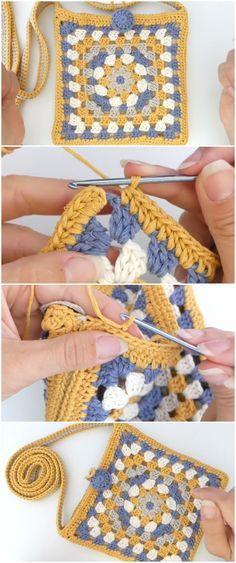 Crochet Beautiful Bag Granny Square | Crochet cuadrados, círculos ...