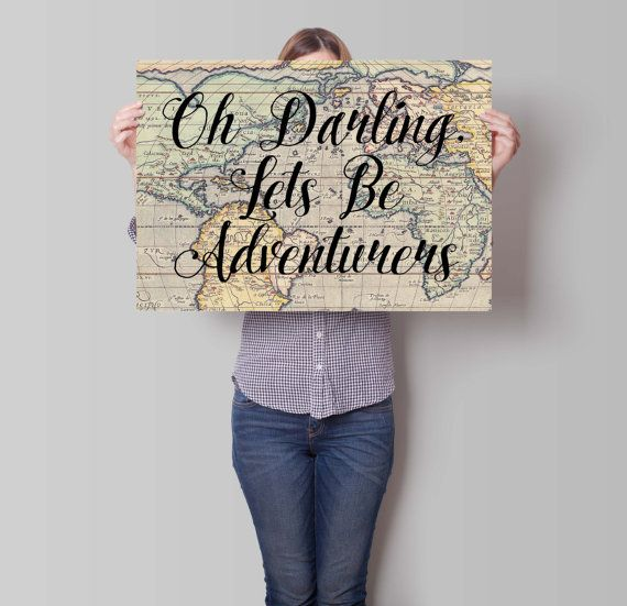Oh darling lets be adventurers travel wedding gift world map oh darling lets be adventurers travel wedding gift world map poster vintage gumiabroncs Choice Image