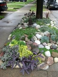 great use of rock. low growing, drought tolerant plants and ground cover