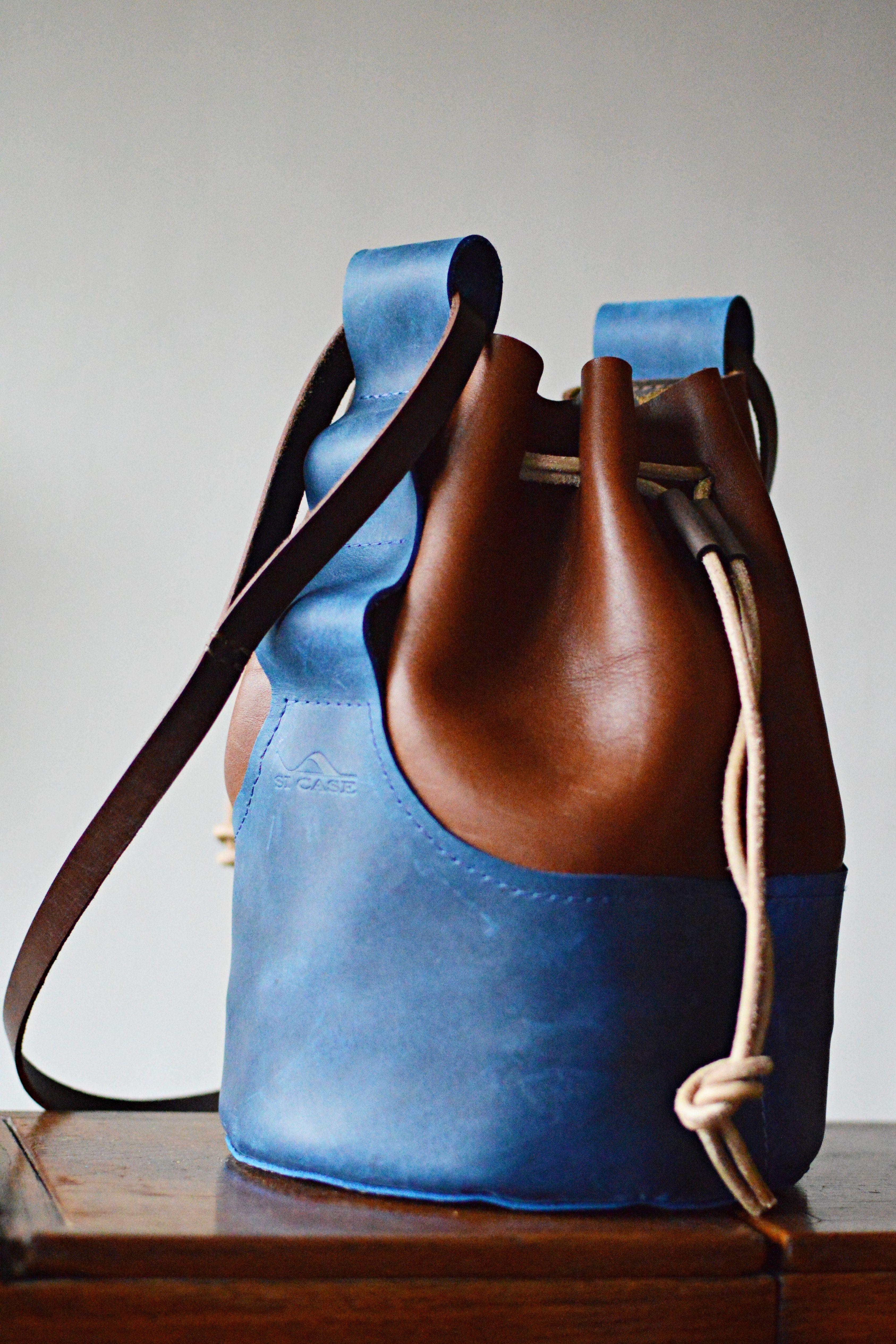 Handmade leather bucket bag, leather shoulder bag, leather