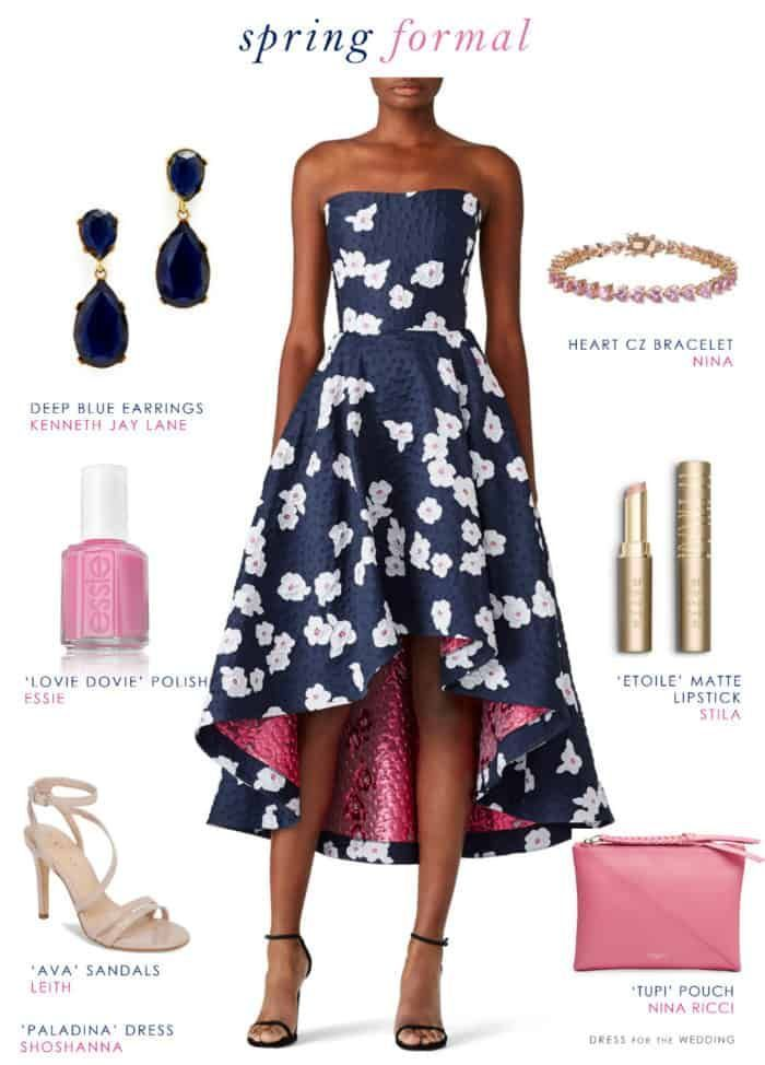 Navy Blue Floral Dress For A Wedding Guest Wedding Outfits