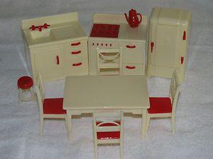 """Complete Kitchen Set Vintage Renwal Dollhouse Furniture 3 4"""" Fits Marx Ideal   eBay"""
