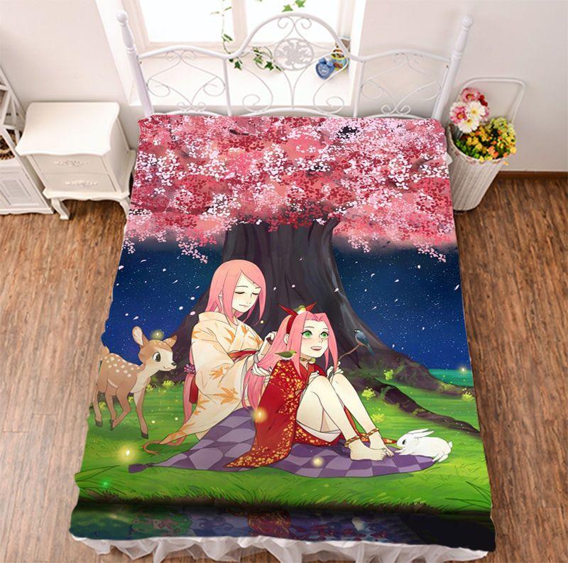"79/"" Japan Anime Naruto HD Home Bedsheet Micro Fiber Blanket Unisex Otaku Gifts"