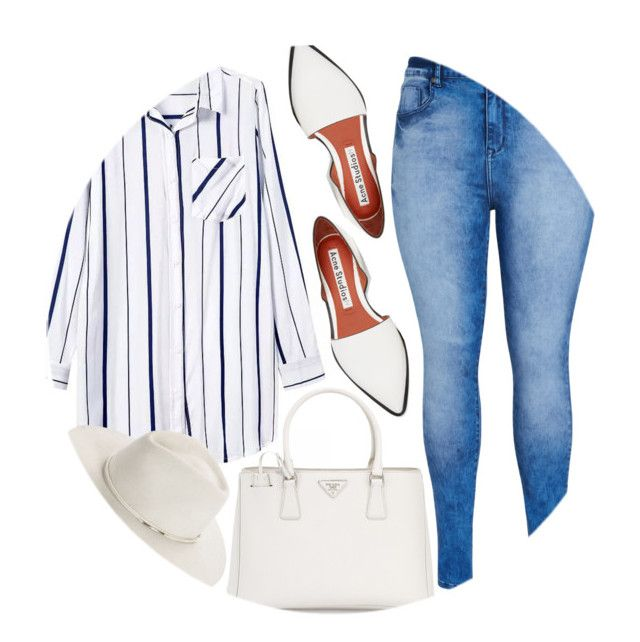 """Striped Shirts"" by enola-pycroft ❤ liked on Polyvore featuring mode, Acne Studios, City Chic, Prada en rag & bone"