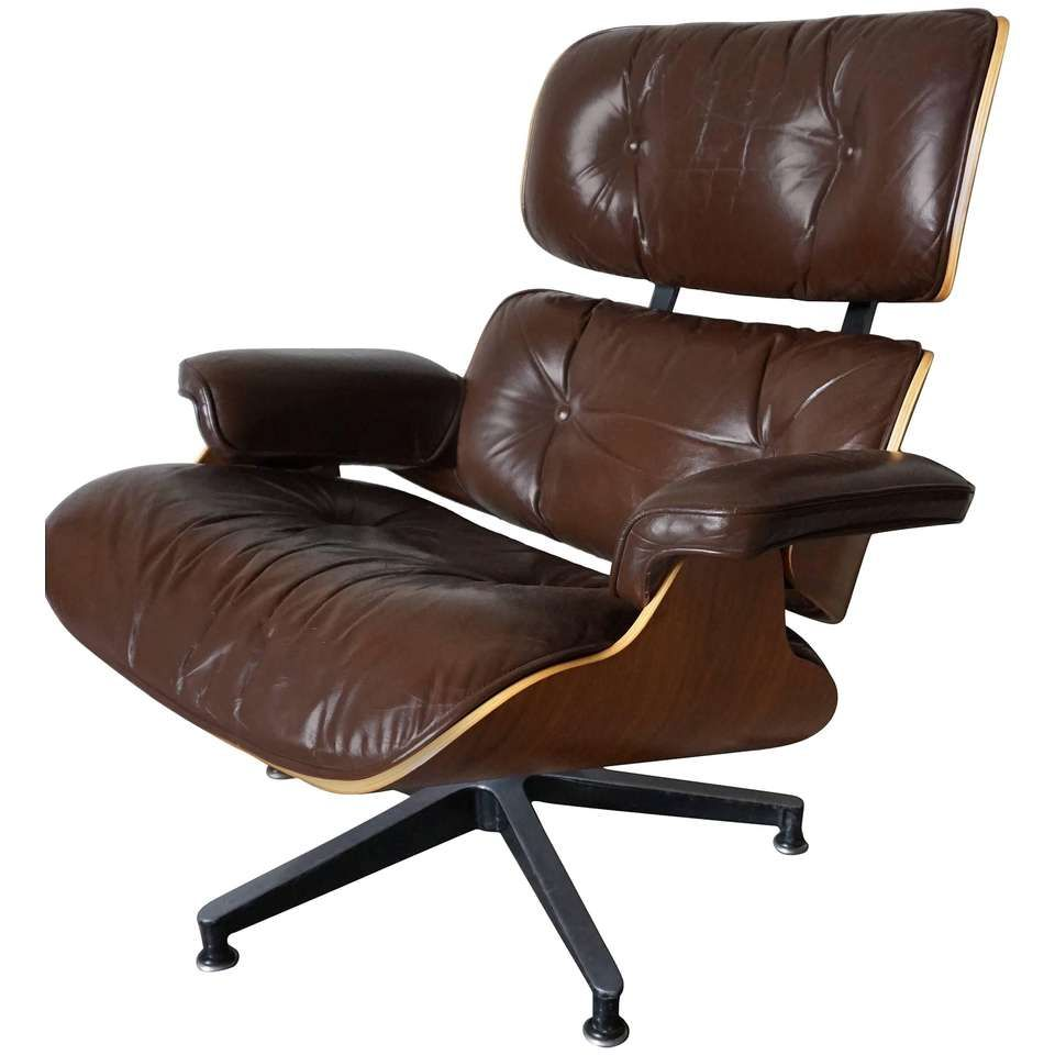 Model 670 Brown Leather Lounge Chair by Charles and Ray