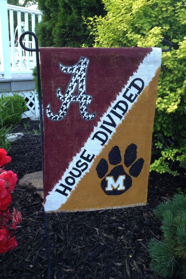 Elegant House Divided Burlap Garden Flag (Alabama Roll Tide And Missouri Tigers) By  WORLEYdesigns On