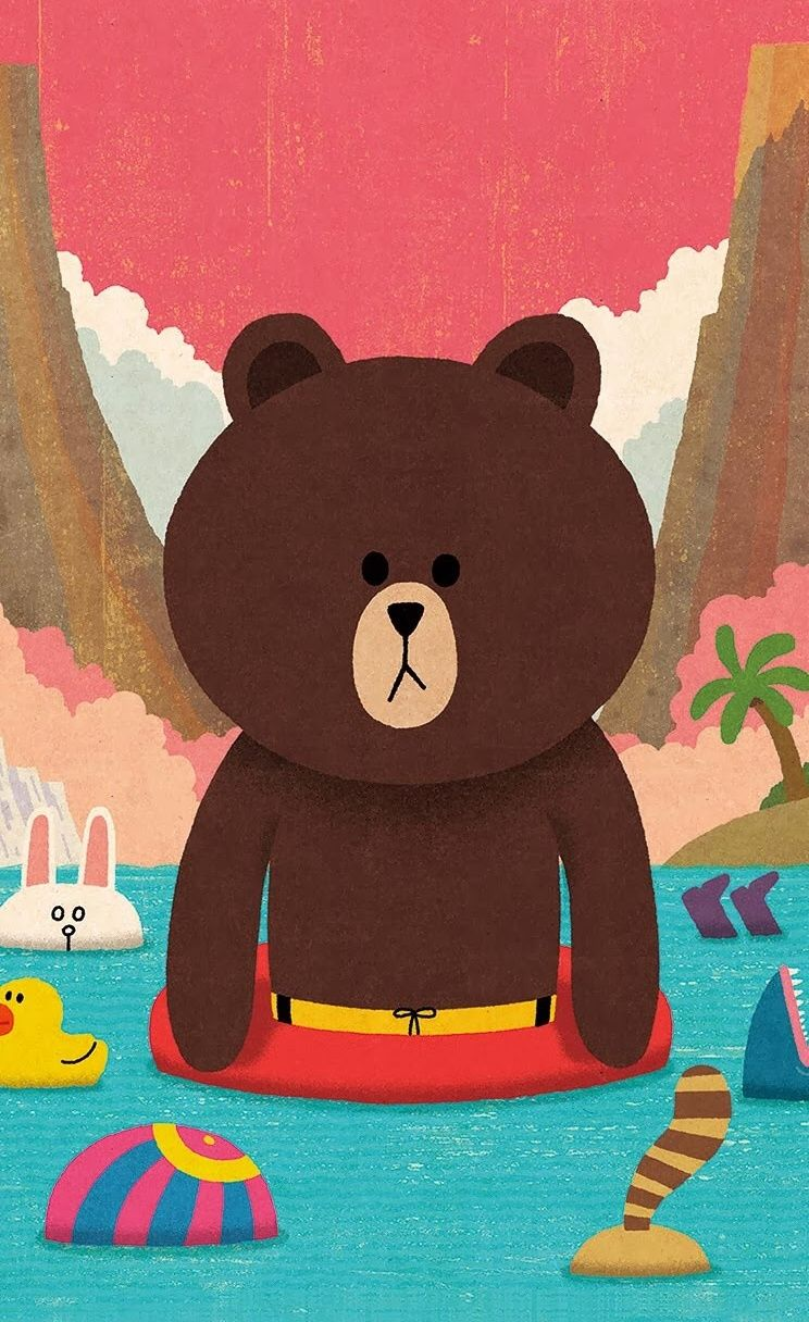 Line Friends Character Brown Bear Animal Wallpaper For