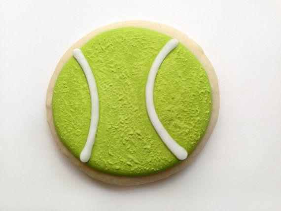 Set Of 12 Tennis Ball Cookies Tennis Ball Favors Tennis Etsy In 2020 Tennis Cake Tennis Ball Sugar Cookies