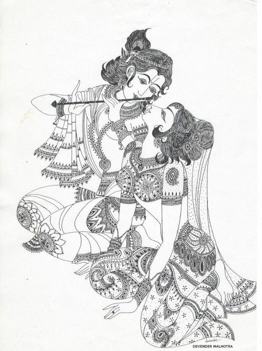 Pencil Sketches Of Lord Krishna And Radha