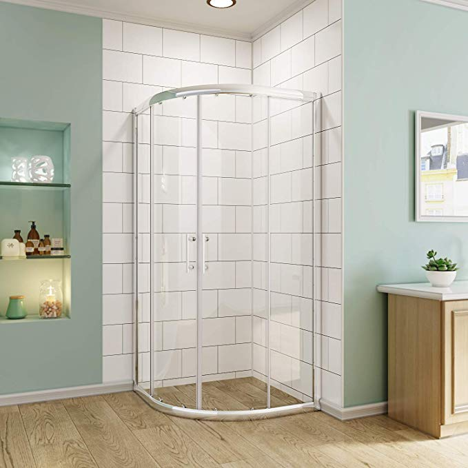 Sunny Shower Sliding Shower Door Neo Round Corner Frameless Shower Enclosure 1 4 In Clear Glass Bathroom Double Sliding Glass Doo In 2020 Frameless Shower Enclosures