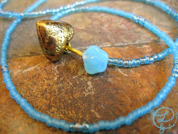 Unique Wrap Bracelet. Light Blue Seed Beads Golden by LunaBanana, $18.00